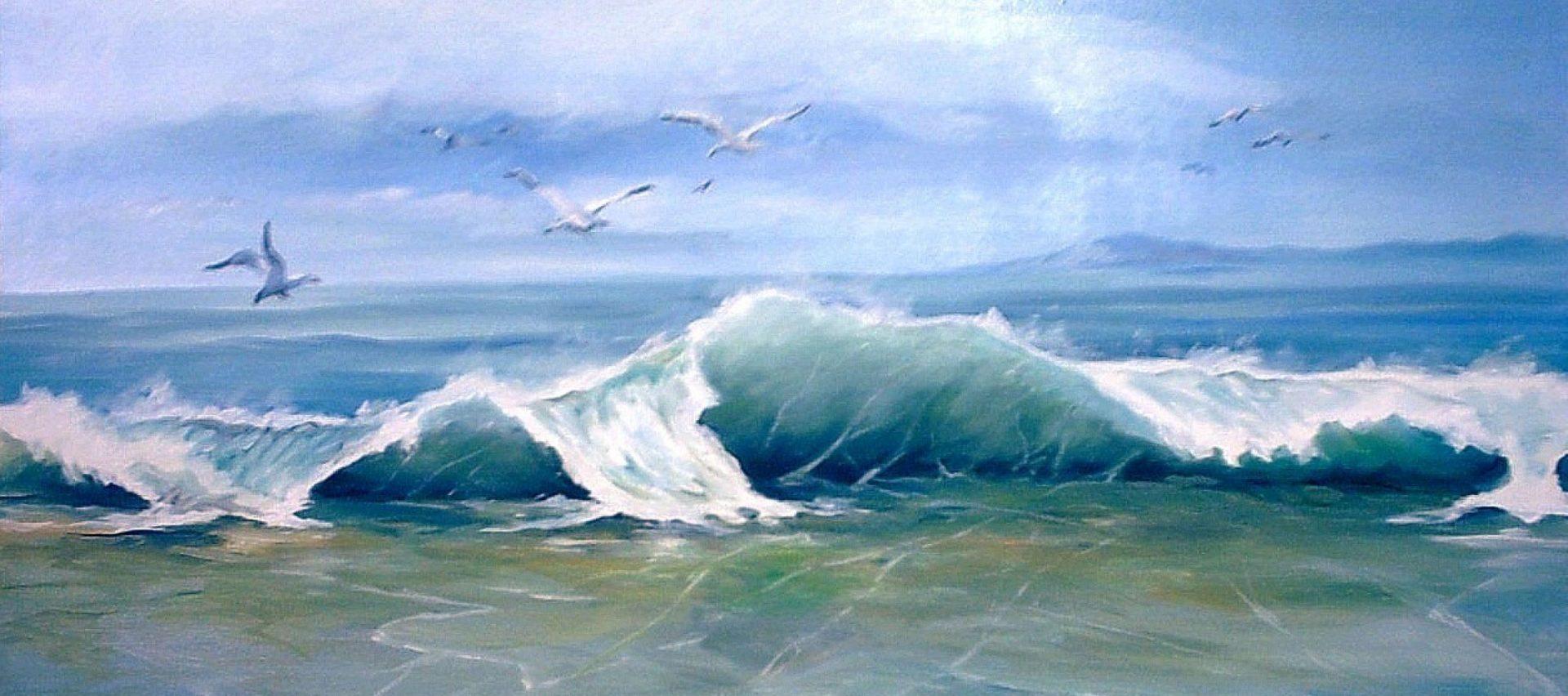 Ilustración de costa con olas