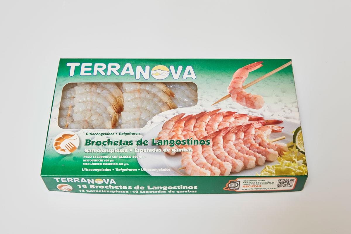 Terranova - Envase de brochetas de langostinos