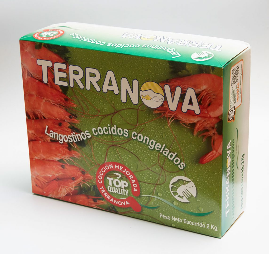 Terranova - Frozen cooked king prawn packaging