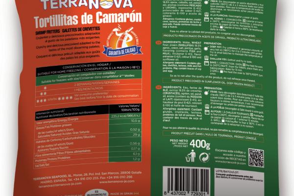 Terranova - Envase de tortitas de camarón - Instrucciones de uso e ingredientes