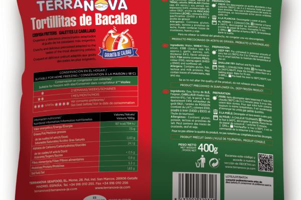 Terranova - Envase de tortitas de bacalao - Instrucciones de uso e ingredientes